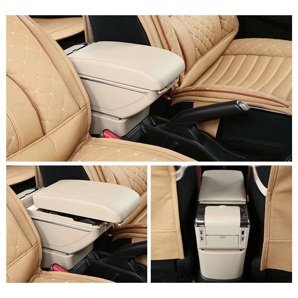 Bracciolo Auto Centrale per Yaris Console centrale Automobile Appoggio in pelle con portacenere /& portabicchieri /& 7 porte USB Nero