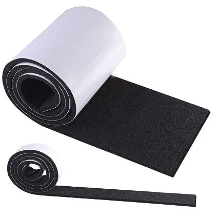 Fieltro Adhesivo Negro, HTBAKOI Fieltro Muebles Suelo 2 Rollos (100*10cm+100*2cm) Cinta Protector Fieltro Adhesivo Corte Libre en Cualquier Forma con ...