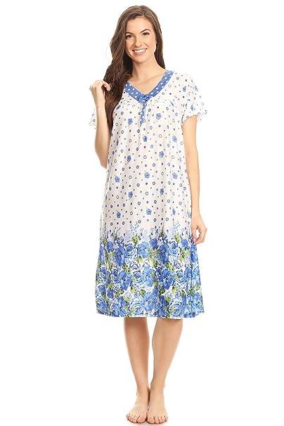 090909641a Lati Fashion 811 Womens Nightgown Sleepwear Cotton Pajamas - Woman  Sleeveless Sleep Dress Nightshirt Blue M