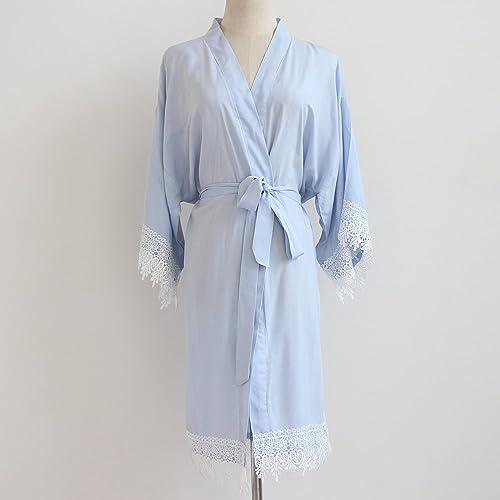Toga de Kimono de mujer azul claro (con adornos de encaje) -Ropa de