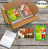 100 Wholesale Traditional Christmas Cards with Envelopes: Classic Holiday Designs, General Audience, on Recycled Paper (Jolly Santa & Silent Night)