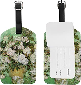 Set of 2 PU Leather Luggage Tags Minnie Mouse with Flower Suitcase Labels Bag Adjustable Leather Strap Travel Accessories