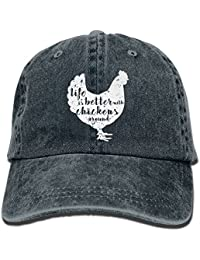 Life Is Better With Chickens Around Vintage Adjustable Cowboy Hat Baseball Caps For Adult