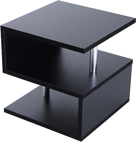 HOMCOM 20 Modern Designer S-Shaped Multi Level Accent End Table Shelf
