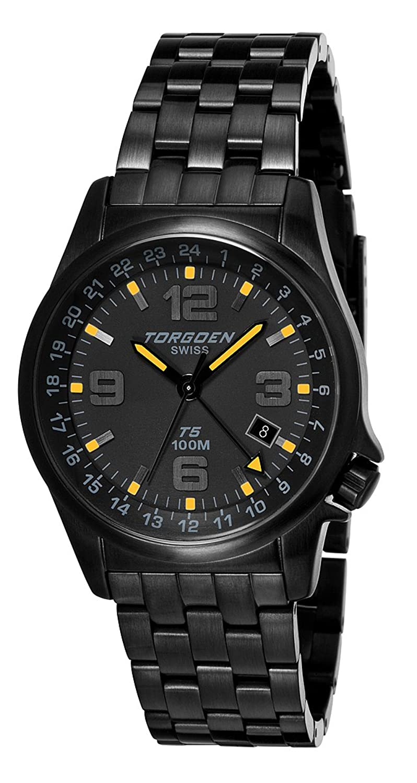 TORGOEN Swiss Herren-Armbanduhr Analog Edelstahl schwarz T05206