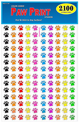 Seal Pup Tiger - Pack of 2100 Colorful Dog Paw Print Stickers, 3/4 inch, 8 Bright Neon Colors, Great for Teachers, Classrooms & Veterinarians!