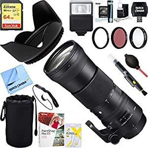 Sigma (745-306) 150-600mm F5-6.3 DG OS HSM Zoom Lens Contemporary for Nikon DSLR Cameras + 64GB Ultimate Filter & Flash Photography Bundle