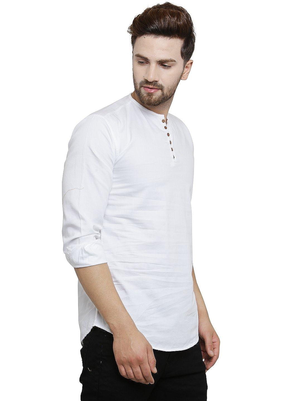68bdbb3e06eb Pacman White Kurta Styled Slim Fit Smart Mens Casual Shirt SHFS0047:  Amazon.in: Clothing & Accessories