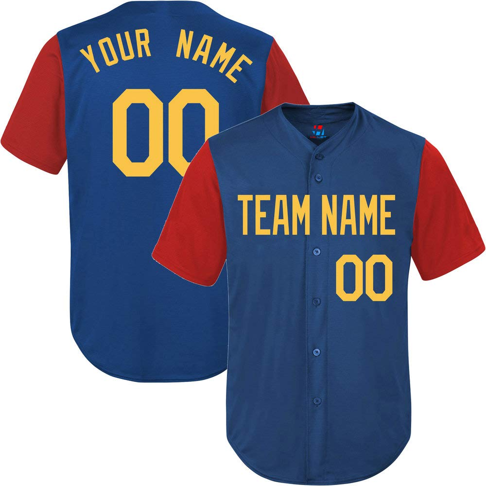 Pullonsy Royal/Red League Customized Baseball Jersey for Men Embroidered Letters,Yellow Size S by Pullonsy