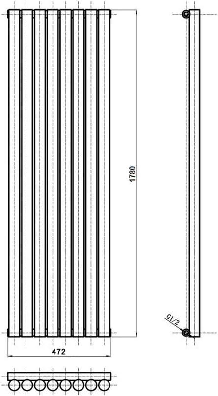 Riscaldamento ad Acqua Calda Design a Colonna Termosifone Con Finitura In Antracite 1391W Hudson Reed Savy Radiatore Termoarredo di Design Verticale Moderno 1780 x 472mm