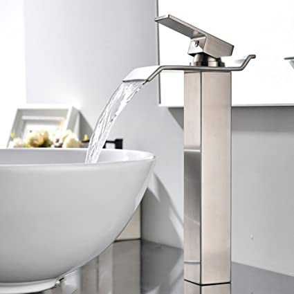 VAPSINT Modern Commercial Tall Single Handle Waterfall Brushed Nickel  Vessel Sink Bathroom Faucet, Bathroom Sink