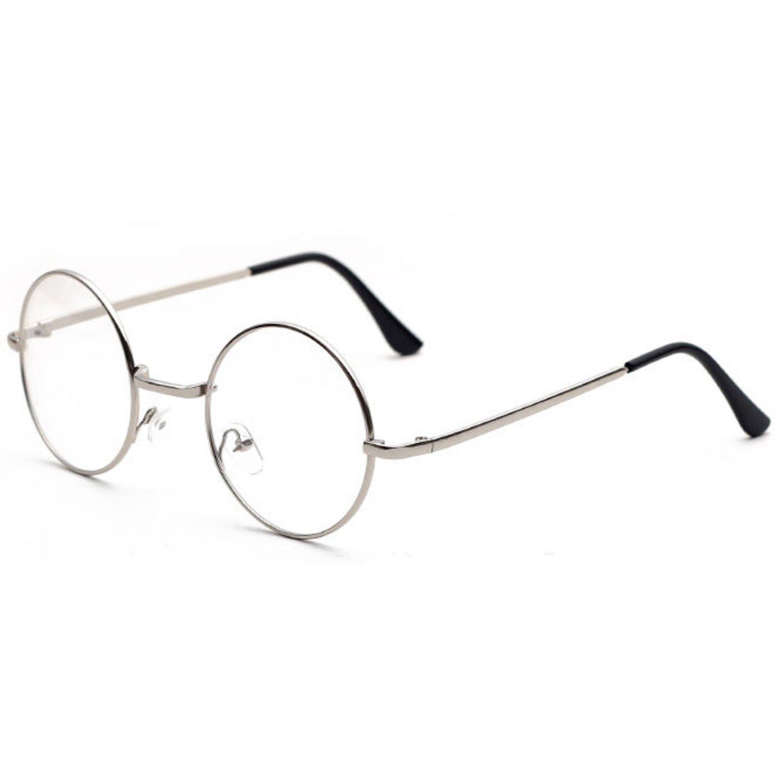 Vococal - Unisex Gafas de Lente Claros Llanura Redondo / Monturas de Metal para Gafas de Miopía (Pla...
