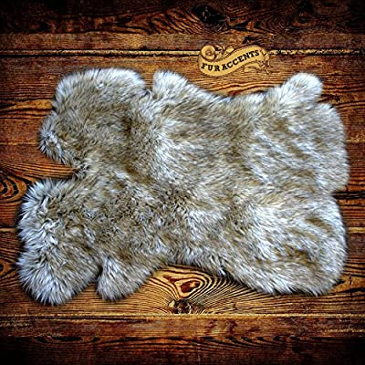 Gray Wolf Faux Fur Pelt Rug - Sheepskin Shag - Shaggy Throw - Accent Carpet -Kids Bedroom - Play Rug - Nursery - Crib Mat - Design By Fur Accents