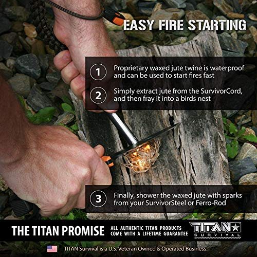 Titan SurvivorCord | Desert TAN | 103 Feet | Patented Military Type III 550 Paracord/Parachute Cord (3/16'' Diameter) with Integrated Fishing Line, Fire-Starter, and Utility Wire. by Titan Paracord (Image #4)