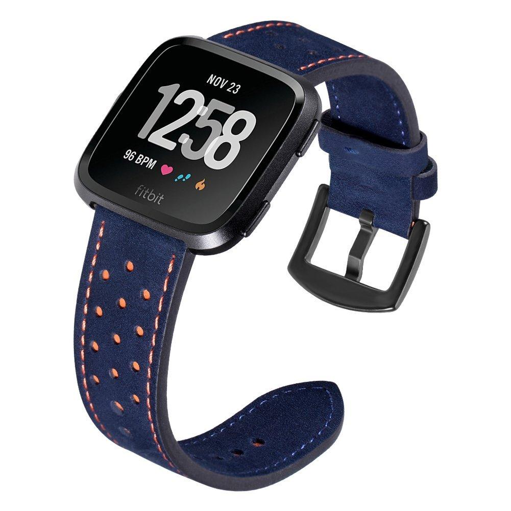 minfex for Fitbit Versa交換用バンド、クラシック本革リストバンドアクセサリーストラップfor Fitbit Versa Fitness Smart Watchレディースメンズ Dot-Blue Dot-Blue B07BNF59C6