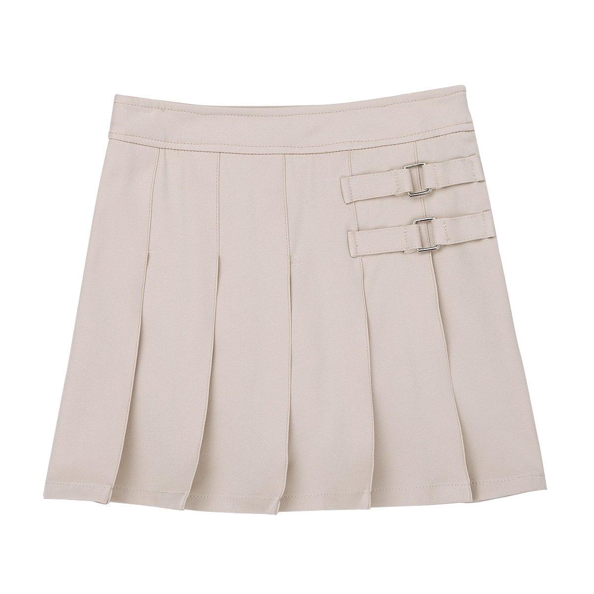 Freebily Kids Girls' Two-Tab Pleated Side Zipper Buttons Scooter School Uniform Skirt Khaki 5