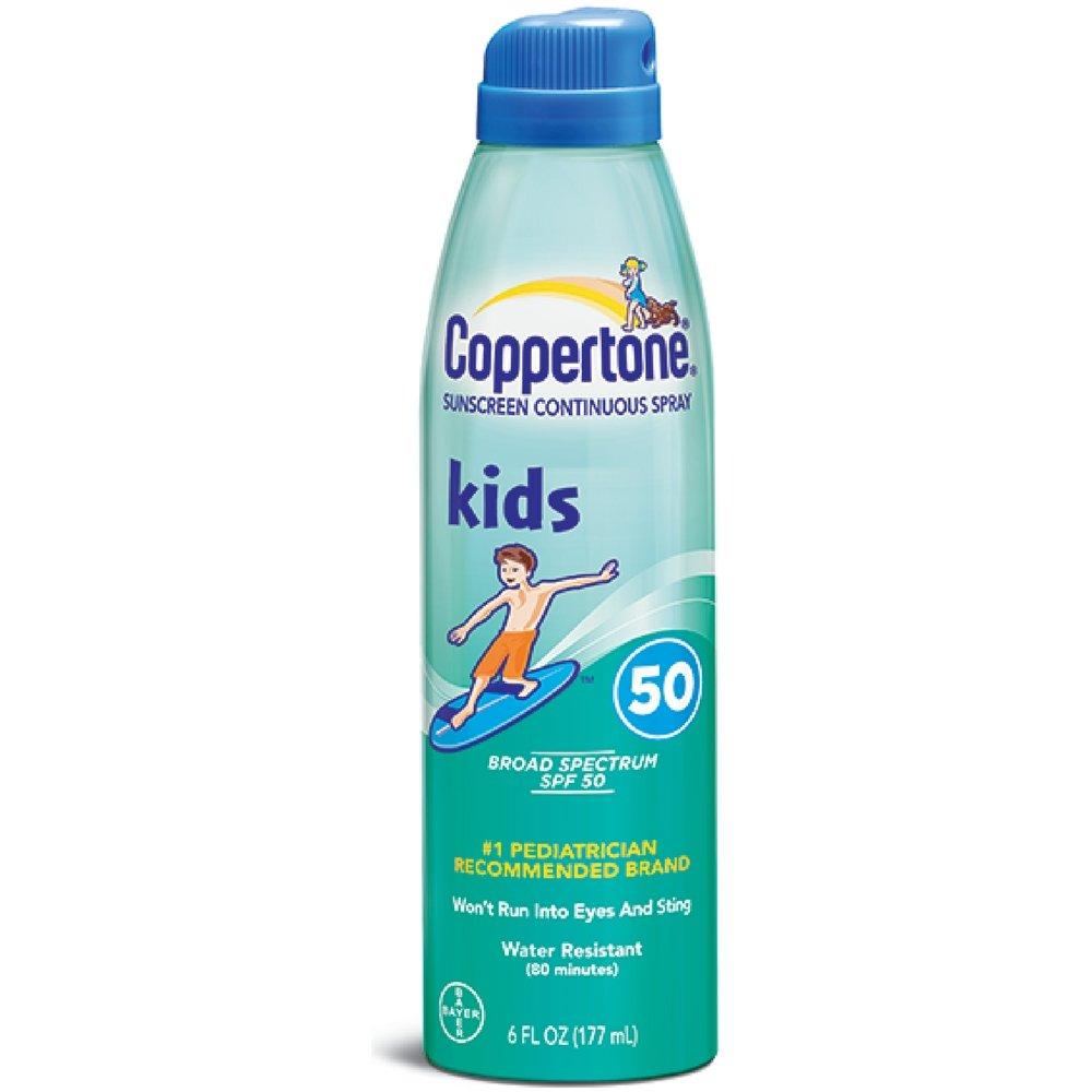dc9f9eac18bbb Amazon.com  Coppertone Kids Sunscreen Continuous Spray SPF 50, 6 oz  Beauty