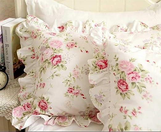 The Floral Pink Fuchia Set of 2 Organic Cotton Kantha Pillowcase