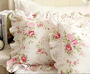 Kolachic Country Rose Roses Pink Floral Print Pillowcases Shabby Chic Vintage Lace Ruffles Bedding Pillow Covers Cotton Fabric Material Standared
