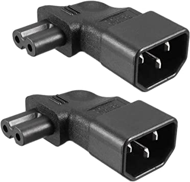 uxcell AC110-250V 10A Male IEC320 Male C14 to Female C7 Power Socket Adapter for Cord Connector 2 Pcs