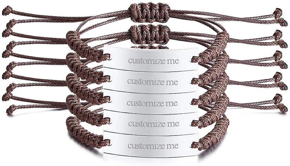 VNOX Cuerda de Cera Acero Inoxidable Nombre Personalizado Etiqueta Identificación de Inspiración Pulsera Ajustable para Hombres Mujeres,Regalo Pulseras de Grupo Familiar