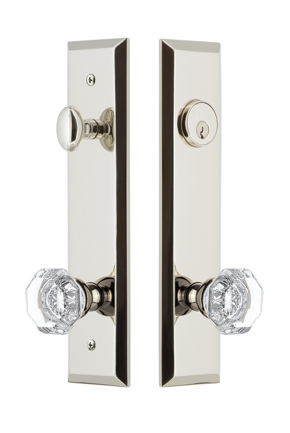 2.375 Backset Size Antique Pewter Grandeur Hardware 840621 Fifth Avenue Tall Plate Complete Entry Set with Chambord Knob