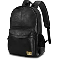 LXY Brown Leather Backpack Laptop Bookbag for Women Men,Vintage Faux Leather Backpack School College Bookbag Campus Backpack Weekender Travel Daypack 15.6 inch, 15 inch, 14 inch, 13 inch black LXY