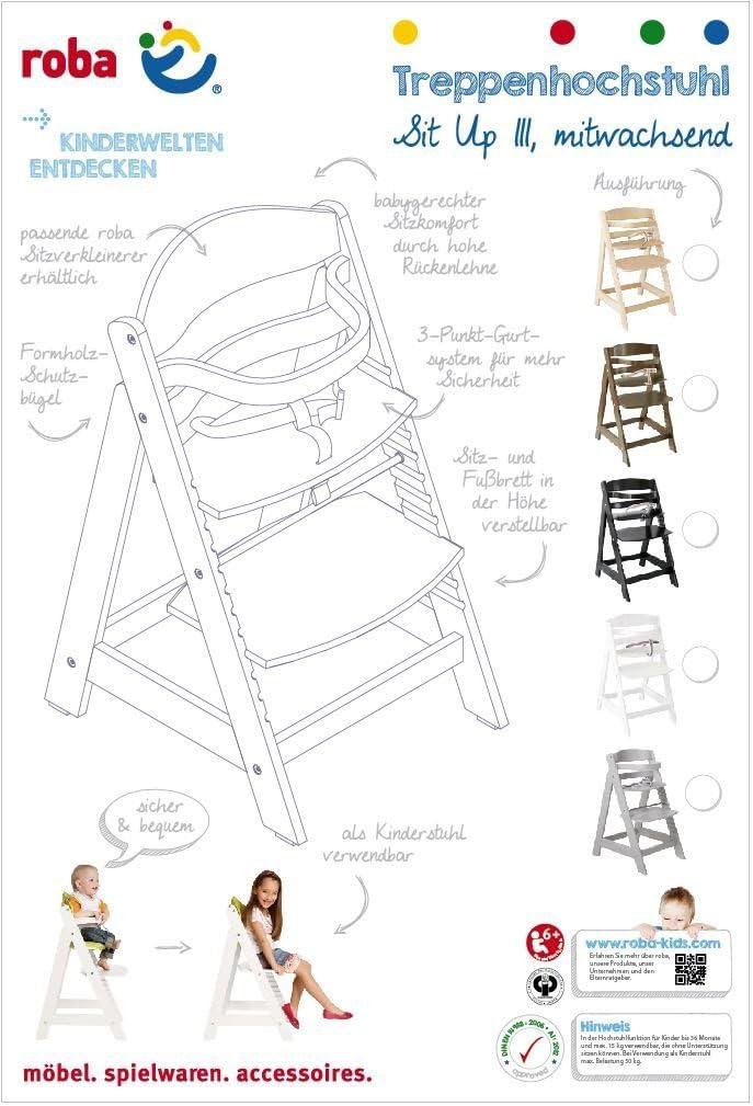 Trona evolutiva lacada en blanco Roba Sit Up III 7569W