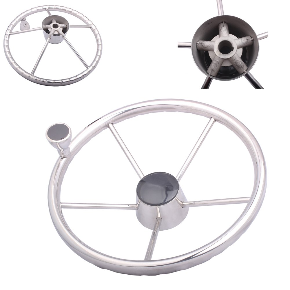 HOFFEN 13-1/2 Inch Stainless Steering Wheel With Knob 13.5'' Destroyer Style Boat Yacht Steering Wheel