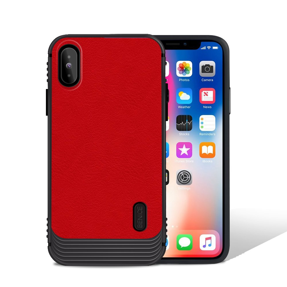 iPhone X case, MagicSky Ultra Slim Premium PU Leather Shock-absorbing Protective Bumper Case Cover with Built-in Nickel Metal Plate work with Universal Magnetic Phone Car Mount Holder - Red
