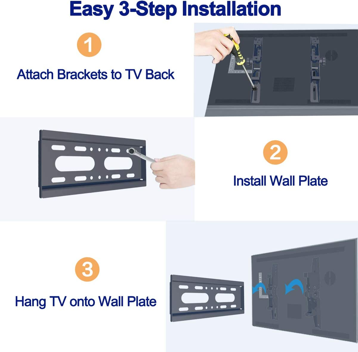 Space Saving Low Profile with Screws and Bubble Level Max Load Capacity 55lbs SJBRWN Tilt TV Wall Mount Bracket Most 14-42 Inch LCD LED Flat Curved Screen Small TV Monitor Mount VESA Up to 200x200mm