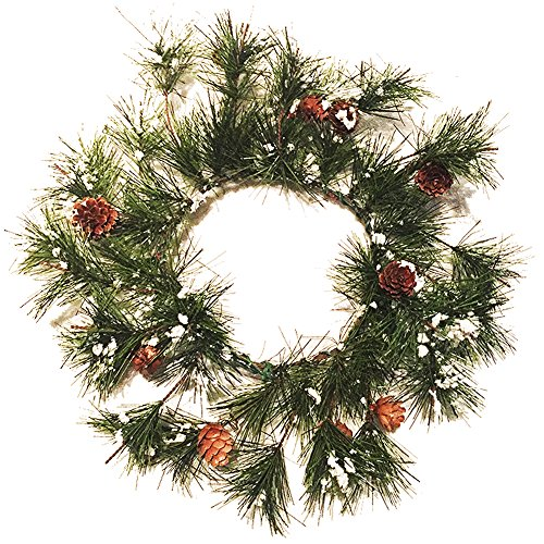 Chrismtas Candle Ring for 6 inch Candle base - Mini Wreath w Snow and Pine Cones (Pinecone Ring Candle)