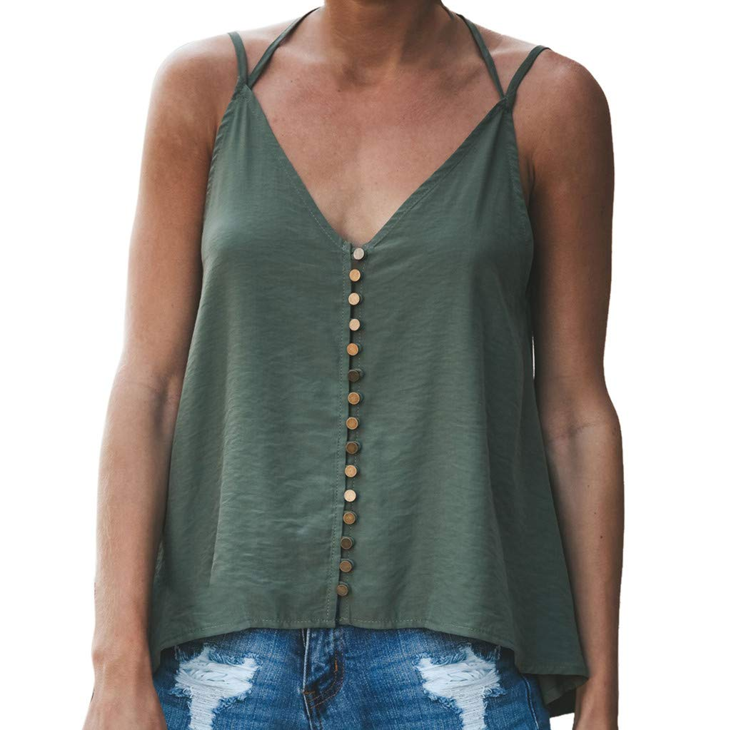 Nufelans Women Tank Tops Open Back Camisoles Summer V-Neck Linen Solid Casual Shirt Blouse Army Green