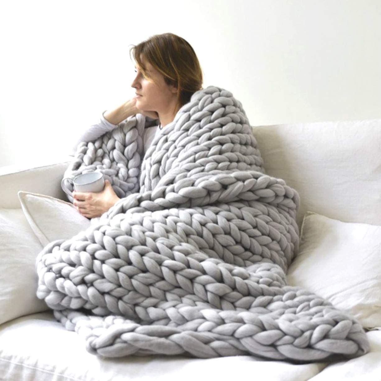 Chunky Knitted Throw Blankets, Hand Made Merino Wool Throw Boho Bedroom Sofa Home Decor Giant Yarn, Heavy Cozy Warm Giant Knit Blanket for Gift Sofa Bed