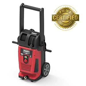 Mighty Clean MC1800 Electric Pressure Washer with Live Hose Reel and Turbo Nozzle, Red/Black