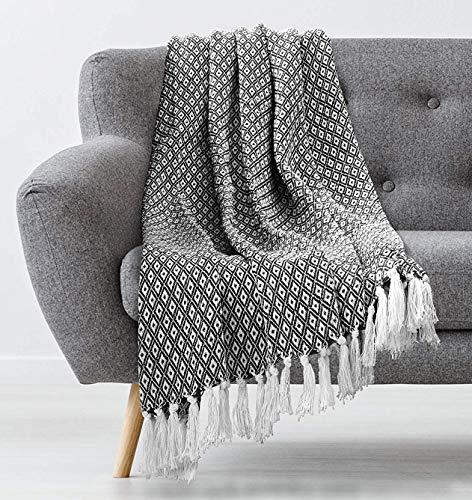 Americanflat Omala Black and White Mini Diamond Cotton Blanket Throw with Fringe - 50x60 Inches