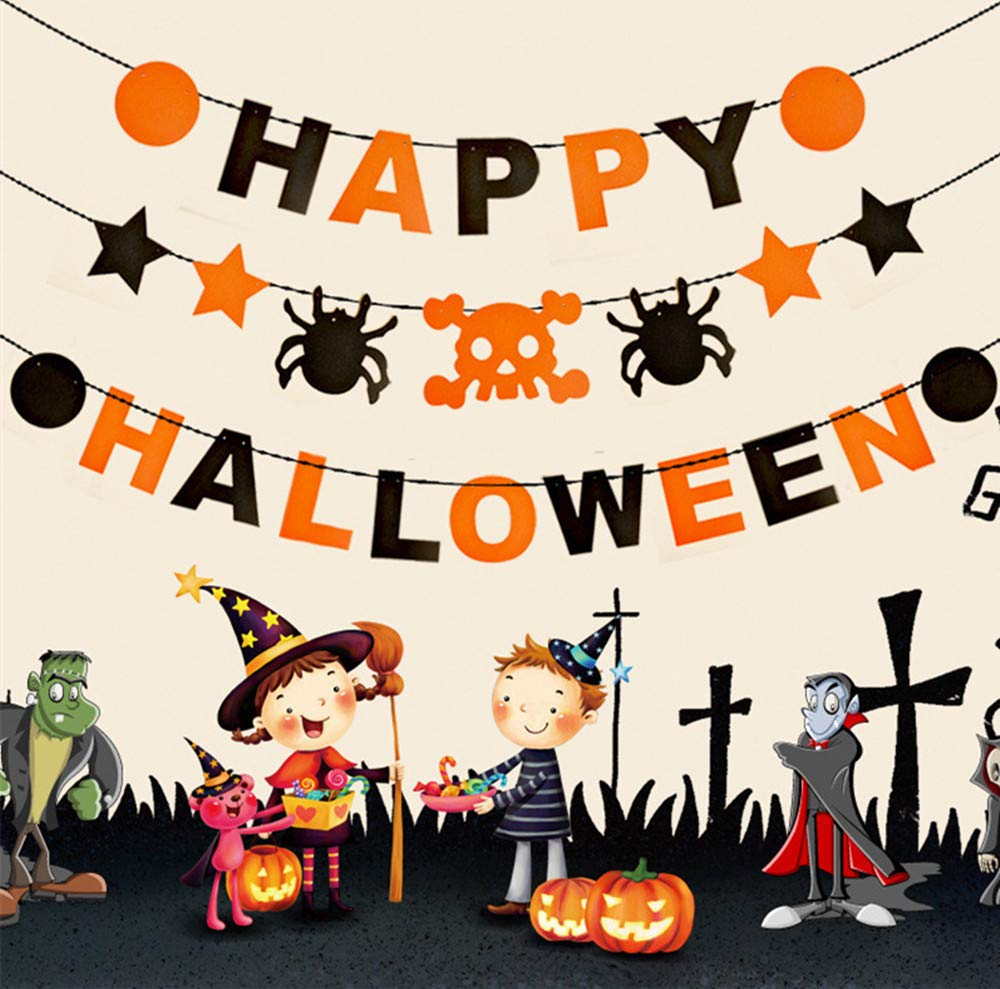 All Saints Day Decor Home Supplies All Saints/' Day Decor Home Supplies YJG Clearance Happy Halloween /& Skull /& Spider /& Stars Nonwovens Net Flags Pendant 25Pcs DIY Halloween Party Banner Kit Decorations