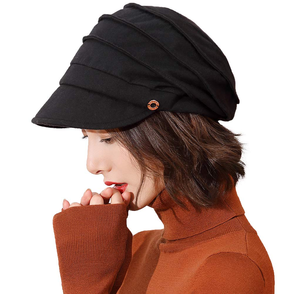 Womens Newsboy Cap Baker Berets Fisherman Conductor Greek Hat Winter Cotton Casual Fashion Cancer Amazon Black