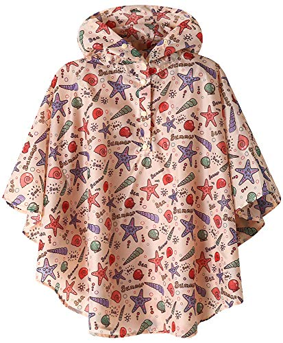 (Boys Girls Waterproof Rain Poncho Coat Starfish X-Large)