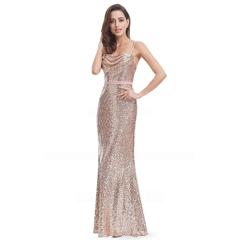 CG Sheath//Column Cowl Neck Spaghetti Straps Floor-Length Evening Dress with Sequined Sashes//Ribbons E447EH25