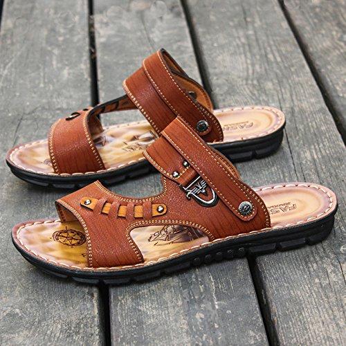 ZHANGJIA Sommer Toe Sandalen, Jugend Legere Schuhe, Verschleißfest, Rutschfeste, Flip Flops, Coole Hausschuhe, 40, Braun 806