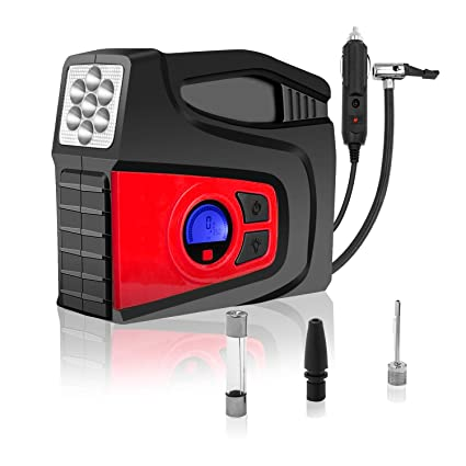 red Breezz Tire Inflator Bicycle and Other Inflatables 12V DC Portable Auto Tire Pump with Digital Display Pressure Gauge for Car Air Compressor Pump