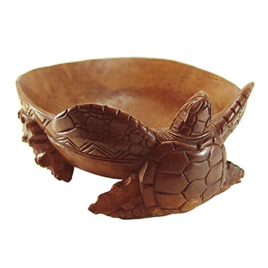 Christmas Tablescape Decor - Large hand carved Hawaiian honu sea turtle wood bowl