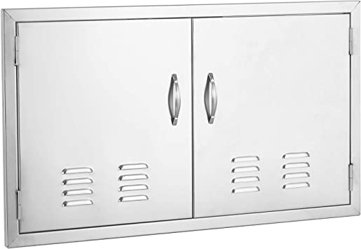 """36/"""" x 21/"""" BBQ Stainless Steel Island Access Double Door Outdoor Louvered Vents"""