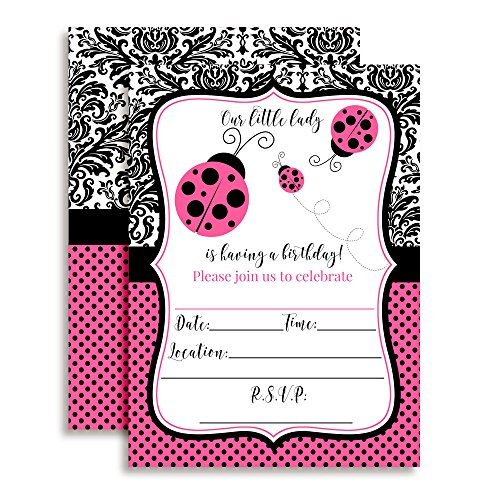 Pink Polka Dot Ladybug Birthday Party Invitations for Girls, Ten 5''x7'' Fill In Cards with 10 White Envelopes by AmandaCreation by Amanda Creation