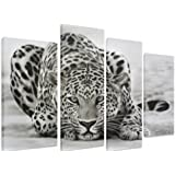"PICTURE - Multi Split Panel Canvas Artwork Art - Leopard Ready To Pounce Attack Animal Black And White - ART Depot OUTLET - 4 Panel - 101cm x 71cm (40""x28"")"