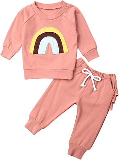 Infant Baby Girls Fall Outfits Daisy Print Long Sleeve Sweatshirt Tops T-Shirt+Pocket Pants Leggings Winter Clothes Set