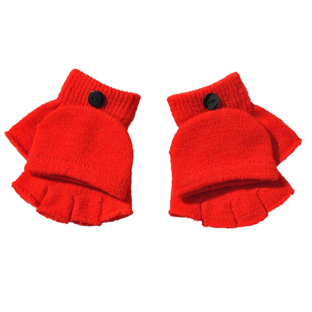 Iusun Winter Gloves for Baby Boy Girl Multi-function Fashion Knit Flip Cover Fingerless Cold Proof Thermal Work Lined Texting Mitten Hands Warm in Cold Weather Hand Wrist Trim Gloves
