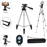 Osveta Adjustable Aluminium Alloy Tripod Stand Holder for Mobile Phones, 360 mm -1050 mm, 1/4 inch Screw with Selfie Remote