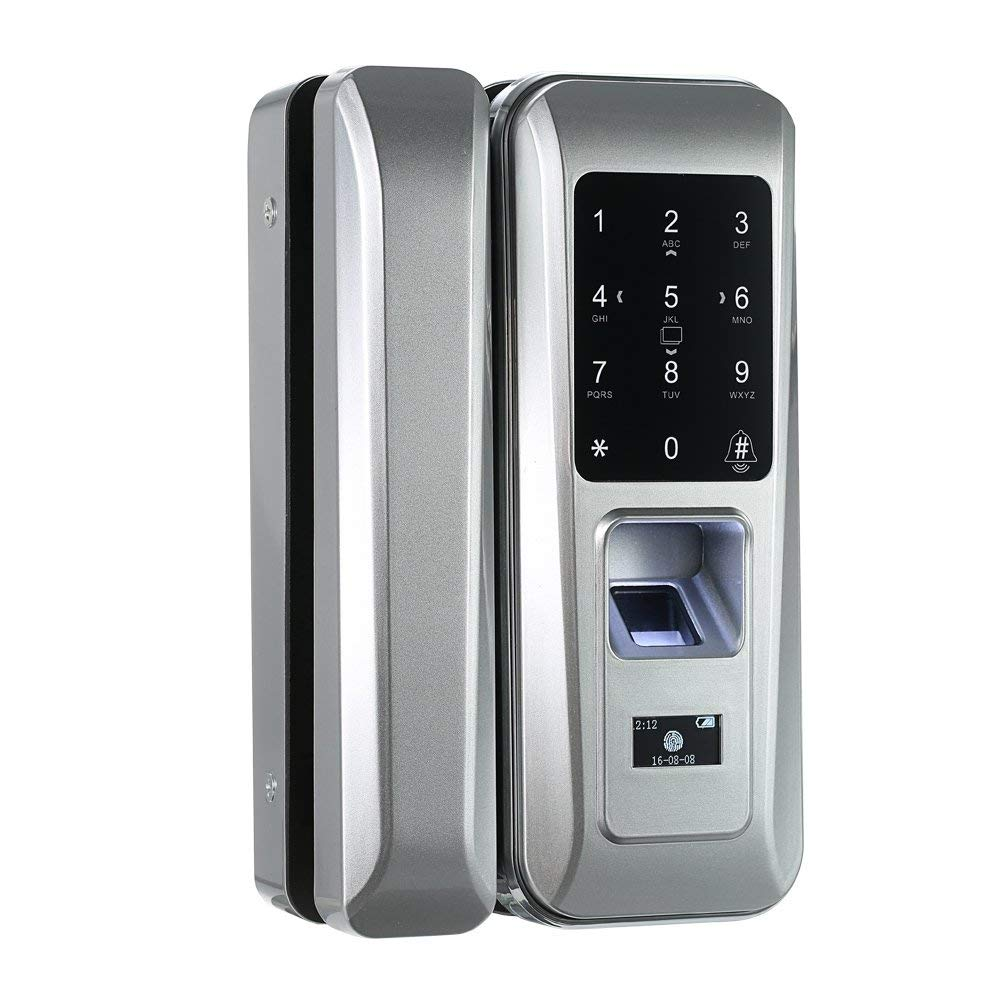 Walmeck Fingerprint & Touchscreen Smart Lock Digital Lock for Double Open Glass Door Fingerprint Lock Electronic Keyless Touch-screen Door Lock Fingerprint Door Lock for Glass Door